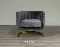 Grey Velvet Tub Accent Chair Stainless Gold Finish Frame UK Stock FREE Delivery