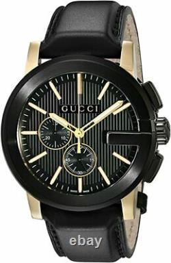 Gucci $1820 Men's G-chrono Black Ion Gold Accents Leather Swiss Watch Ya101203