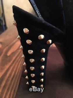 Gucci NWB Suede Gold Accent Studded Strapped Heels 38 US Size 8
