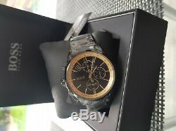 Hugo Boss Mens Grand Prix Black IP/Gold Accent 1513578 Watch new with warranty