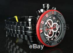 Invicta 70mm Sea Hunter BLACK LABEL Swiss Movt Red Accent Black Polished Watch
