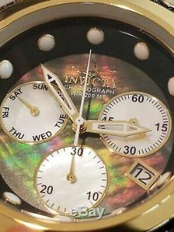 Invicta Bolt Zeus 18k Gold Plated Steel Mother of Pearl Dial Watch Cable Accents
