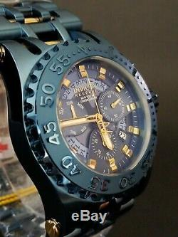 Invicta Reserve Chaos Blue Label Swiss Chronograph Watch Yellow Gold Accents