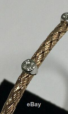 Italian 14K Rose Gold Flexible Bangle with White Gold & Diamond Accents