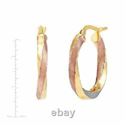 Italian-Made Three-Tone Accent Twisted Hoop Earrings in 14K Gold