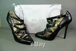 Jimmy Choo 39.5/9.5 Black Leather Cross Strap Leather Jazz Pumps Heels Shoes New
