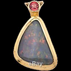 Ladies Solid Multi Color Opal 18K Yellow Gold Pendant with Sapphire Accent