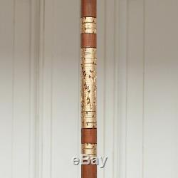Large Indonesian Off White Bali Outdoor Umbrella Mahogany Parasol Gold Accents