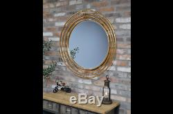 Large Round Luxury Gold Metal Wall Mirror Accent Ring Design Modern Contemporary