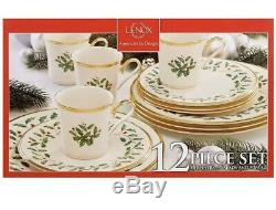 Lenox Holiday 12 Piece Bone China Dinnerware Set with 24k Gold Accent