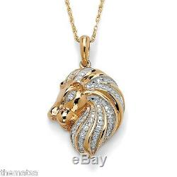 Lion 18k Gold Over Sterling Silver Diamond Accent Pendant Charm Chain Necklace