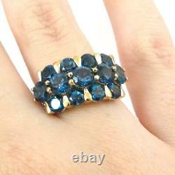 London Blue Topaz Diamond Accent Cluster 10K Yellow Gold Ring Size 7.5 LHJ2