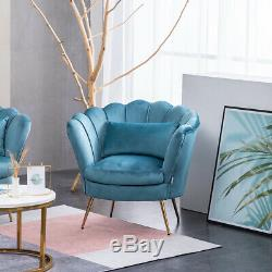 Lotus Scallop Shell Armchair Sofa Round Accent Tub Bedroom Occasional Chair-Blue