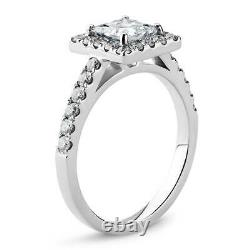 Lovely 14K White Gold 1.25 Carat Princess Cut Moissanite with Accents Halo Ring