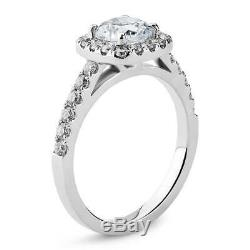 Lovely 14K White Gold 1 Carat Cushion Cut Moissanite with Accents Halo Ring