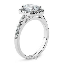 Lovely 14K White Gold 1 Carat emerald Cut Moissanite with Accents Halo Ring