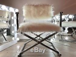 Luxury Accent Faux Fur Stainless Steel Chrome Directors Arm Chair Contemporary