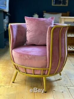 Luxury Blush Pink Velvet Accent Armchair Tub Chair Gold Metal Frame Modern