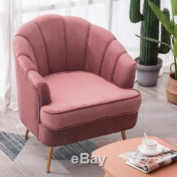 Luxury Velvet Accent Armchair Shell Chair 2 Seater Sofa Set with Gold Legs Lounge