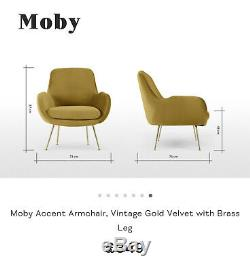 Made. Com Moby Accent Armchair, Vintage Gold Colour RRP £349