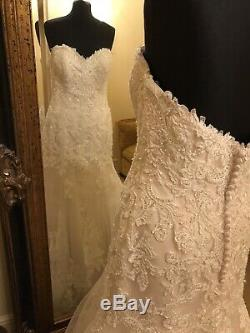 Maggie Sottero Wedding Dress SAIGE Size 14 Ivory/Light Gold pewter accent NEW