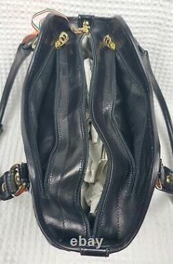 Marino Orlandi Black Shoulder Bag LG Embossed Leather with Patent Leather Accents