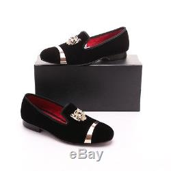 Men RESSO+ROTH Black Velvet Slippers Slip-on Loafers Shoes With Gold Accents