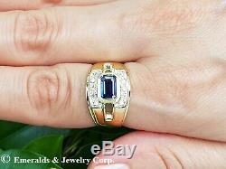 Men's Blue Sapphire Ring with Diamond Accents Solid 14K Yellow Gold
