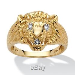 Men's Diamond Accent Solid 10k Yellow Gold Lion's Head Ring