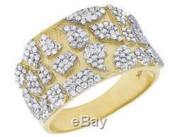 Mens 10K Yellow Gold Accents Nugget Real Diamond Engagement Pinky Ring 1 1/4CT