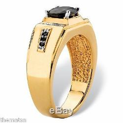 Mens Black Spinel 14k Gold Diamond Accent Classic Gp Ring Size 8 9 10 11 12 13