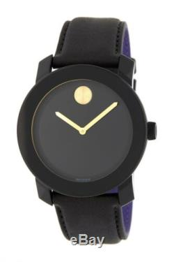 Mens Movado Bold Black Leather Strap Gold Accent Watch 3600480