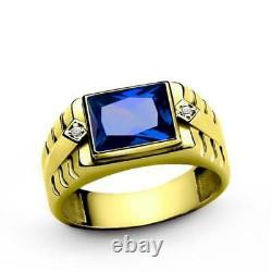 Mens Ring 10k Solid Yellow Gold with Blue Sapphire and 2 Diamond Accents All Sz