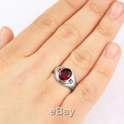 Mens Ring 14k SOLID Yellow Fine GOLD with Red Ruby Gemstone and DIAMOND Accents