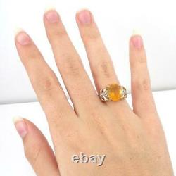 Mexican Fire Opal & 0.25ctw Accents WithDiamond 14K Yellow Gold Ring Size 6.5 LHI2