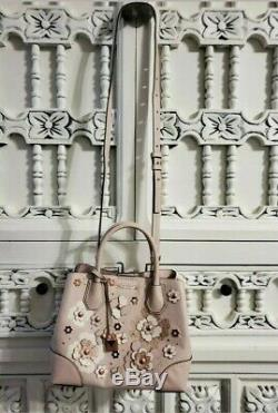 Michael Kors Mercer Gallery Small Handbag Purse Tote Rose Gold Floral accents