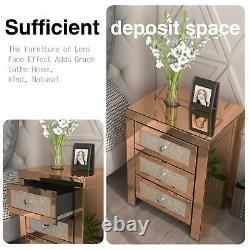 Mirrored End Table 3 Drawers Mirror Accent Side Table Golden Finished Nightstand