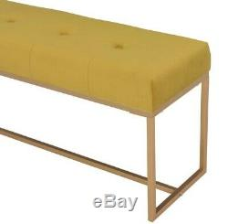 Modern Bed End Bench Velvet Vanity Bench Yellow Accent Small 2 Seater Gold Legs