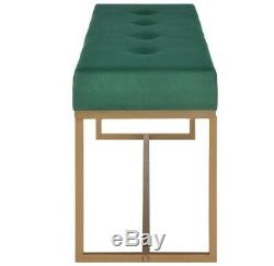 Modern Bedroom Bench Velvet Bed End Bench Green Accent Small 2 Seater Gold Legs