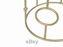 Modern Set of 2 Side Tables Accent Open Metalwork Base Mirrored Top Gold Carmel