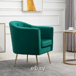Modern Tub Chair Velvet Fabric Armchair Occasional Accent Chair Sofa Living Room