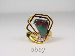 Modern Yellow Gold With Large Black Opal And Diamond Accent Stones
