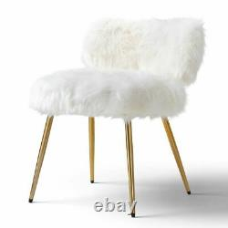 Molly Accent Chair Faux Fur white with Gold Legs