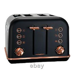 Morphy Richards Black Accents Rose Gold 1.5L Pyramid Kettle and 4 Slice Toaster