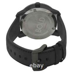 Movado Bold 3600480 Black Leather Strap Gold Accent Men's Watch