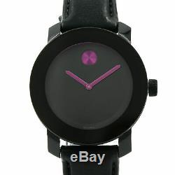 Movado Bold 3600482 Black Leather Strap Pink Accent Women's Watch
