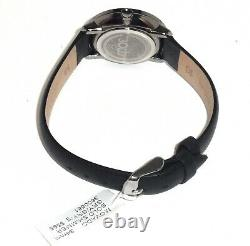 Movado Bold $595 Womens Gray, Rose Gold Accent Black Leather Swiss Watch 3600581