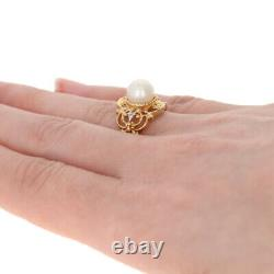 NEW 8mm Pearl Ring 10k Yellow Gold with Diamond Accents