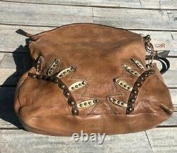 NEW! A. S. 98 studded tan leather bag with gold and dark brown accents