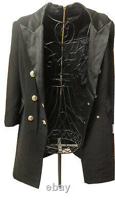 NEW BALMAIN Black Double Breasted Blazer Dress EUR XL US 8-10 GOLD ACCENTS